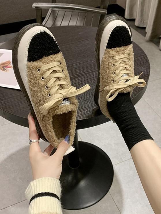 affordable Colorblock Teddy Faux Fur Lace Up Shoes - KHAKI EU 40