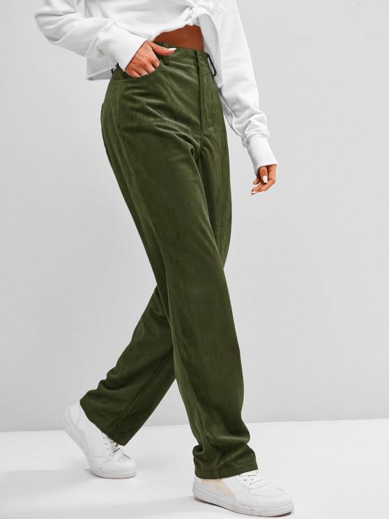 ZAFUL Pantalones de Pana Delgados con Cintura Alta - Ejercito Verde XL