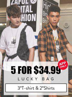 ZAFUL Lucky Bag - Menswear 3*T-shirts & 2*Shirts - Limited Quantity - Multi 4xl
