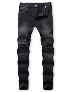 Destroy Wash Ripped Back Pocket Long Jeans - Black 32