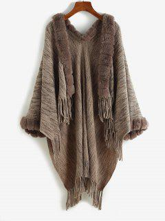 Faux Fur Insert Open Front Fringed Poncho Cardigan - Deep Coffee