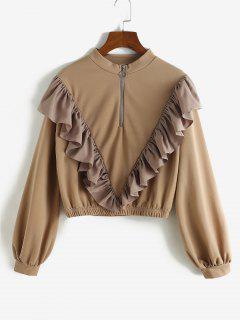 Sweat-shirt à Volants à Demi-Zip - Café Profond L