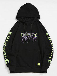 ZAFUL Letter Pattern Fleece Hoodie - Black M
