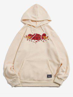 Letter Applique Rose Flowers Print Fleece Hoodie - Beige 2xl