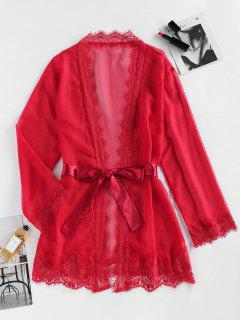 ZAFUL Eyelash Lace Belted Mini Robe - Red L