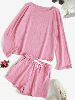 Drop Shoulder Tied Pocket Lounge PJ Set - Light Pink Xxl