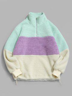ZAFUL Colorblock Quarter Zip Teddy Sweatshirt - Multi Xl
