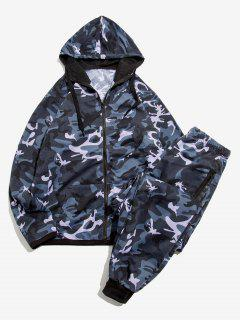 Camouflage Print Jacket And Pants Two Piece Set - Dark Gray 2xl