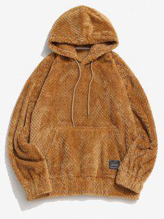 Zaful Label Kangaroo Pocket Fluffy Hoodie - Coffee M