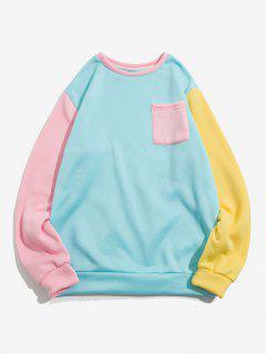 The Statue Of Liberty Graphic Print Contrast Pocket Fleece Sweatshirt - Light Blue M