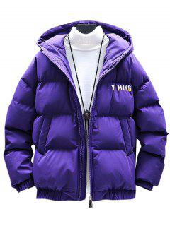 Zip Up Letter Graphic Pockets Padded Coat - Purple Xl