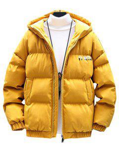 Reißverschluss Buchstaben Grafik Taschen Gepolsterter Mantel - Gelb L