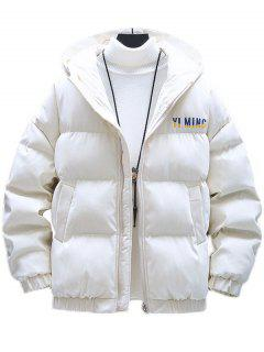 Zip Up Letter Graphic Pockets Padded Coat - White 3xl