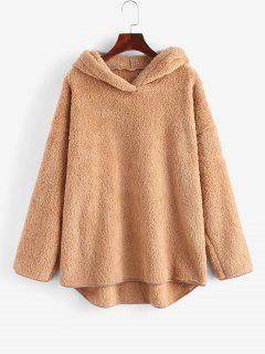 Faux Fur Drop Shoulder Plush Tunic Hoodie - Coffee Xl