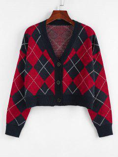ZAFUL Argyle Drop Shoulder Button Up Cardigan - Deep Blue S