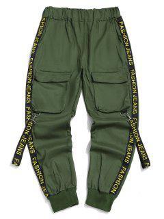 Letter Print Strap Streetwear Cargo Pants - Medium Sea Green L