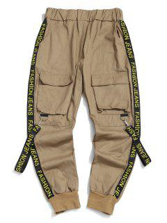 Letter Print Strap Streetwear Cargo Pants - Light Coffee S