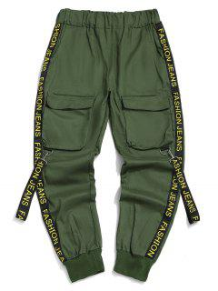 Letter Print Strap Streetwear Cargo Pants - Medium Sea Green M