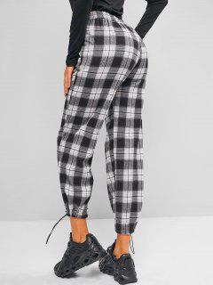 Plaid Pocket Toggle Drawstring Pants - Multi-a L
