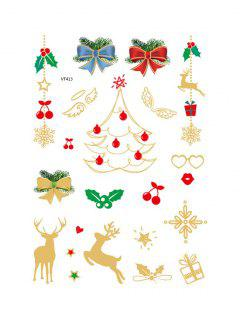 Christmas Tree Foil Print Tattoo Stickers - Golden