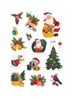 Christmas Tree Santa Pattern Tattoo Stickers - Multi