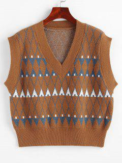 Geo Graphic Sweater Vest - Coffee