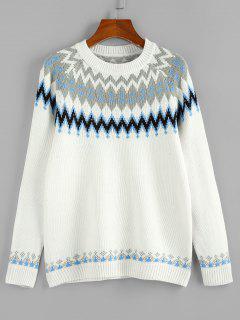 ZAFUL Zig Zag Raglan Sleeve Casual Sweater - White M