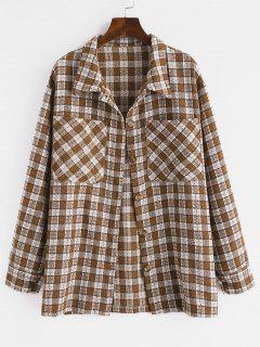 Metallic Thread Plaid Tweed Dual Pocket Shirt Jacket - Deep Coffee Xl