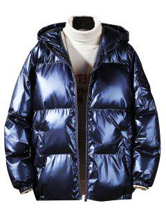 Hooded Shiny Metallic Puffer Quilted Jacket - Cadetblue L