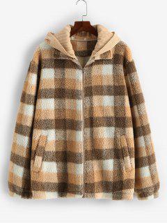 ZAFUL Plaid Corduroy Patchwork Hooded Teddy Jacket - Multi L