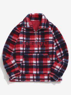 Plaid Letter Embroidery Teddy Sweatshirt - Red Xl