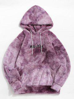 Tie Dye Letter Embroidery Fluffy Hoodie - Purple 2xl