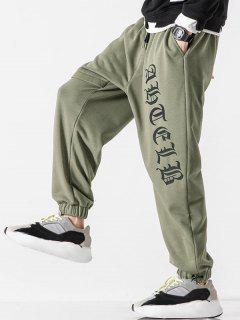 Letter Print Elastic Waist Jogger Sweatpants - Army Green S