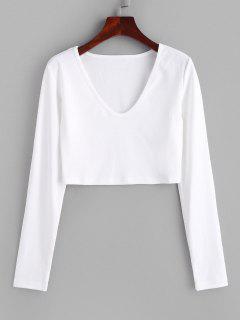 Camiseta Recortada Cuello V - Blanco S