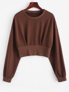 ZAFUL Drop Shoulder Crop Blouson Sweatshirt - Deep Coffee L