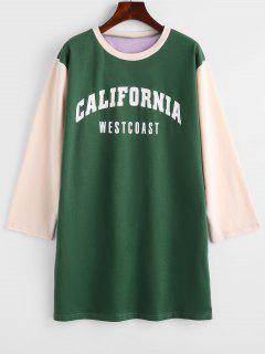 Colorblock CALIFORNIA Graphic Sweatshirt Dress - Deep Green M