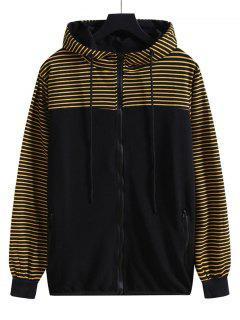 Striped Hooded Zip Up Jacket - Tiger Orange M