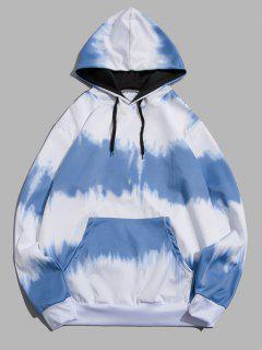 Tie Dye Print Drawstring Front Pocket Hoodie - Blue Ivy M