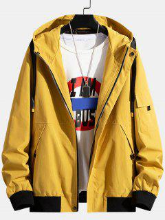 Colorblock Letter Patchwork Hooded Jacket - Yellow Xs