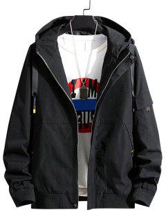 Colorblock Letter Patchwork Hooded Jacket - Black L