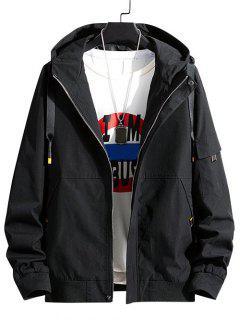 Colorblock Letter Patchwork Hooded Jacket - Black M