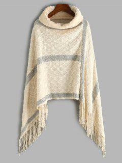 Faux Fur Turtleneck Oversized Fringed Poncho Sweater - Light Coffee