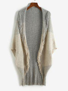 Fringed Colorblock Open Front Poncho Cardigan - Coffee