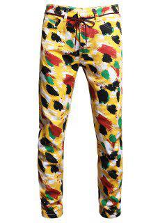 Colorful Paint Print Long Jeans - Multi-a 34