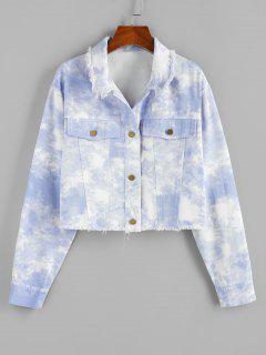 ZAFUL Cloud Dye Frayed Shirt Jacket - Light Blue L