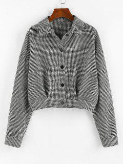 ZAFUL Houndstooth Drop Shoulder Tweed Jacket - Black Xl
