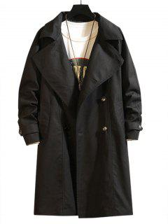 Raglan Sleeve Double Breasted Trench Coat - Black 3xl