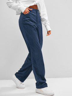 ZAFUL High Waisted Corduroy Pants - Deep Blue Xl