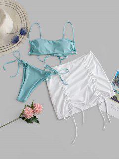 ZAFUL Ribbed Cinched Tie Side Three Piece Bikini Swimwear - Light Blue M
