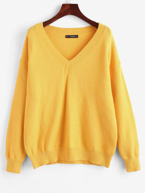 fashion Oversized V Neck Sweater - RUBBER DUCKY YELLOW ONE SIZE Mobile